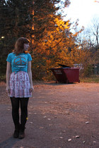 light blue thrifted shirt - pink borrowed dress - brown Forever 21 boots