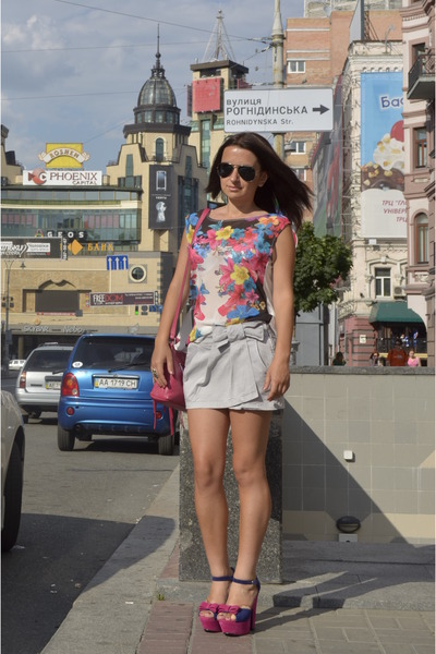 blouse - Quiz blouse - OBA bag - Nature Breeze heels - Bershka skirt