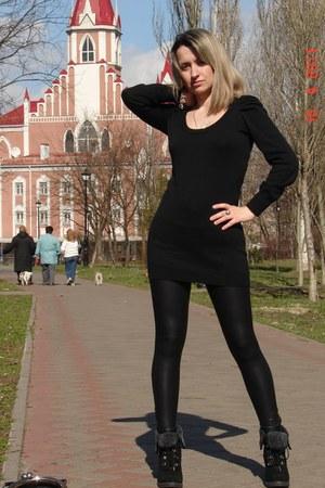 black Aldo shoes - black Vero Moda dress - black Bershka leggings