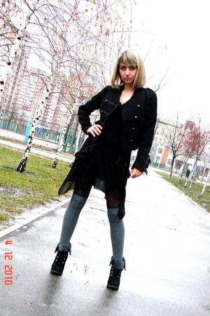black H&M dress - black H&M jacket - heather gray asos socks - black asos shoes