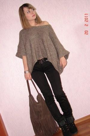 brown Pimkie sweater - brown reserved bag - black Aldo heels