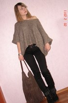 brown Pimkie sweater - brown reserved bag - black Aldo heels
