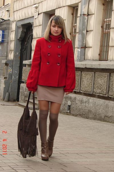 brown reserved bag - camel asos dress - light brown Gabriella Rocha heels