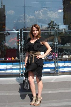 black H&M dress - light brown asos belt - light brown Steve Madden heels