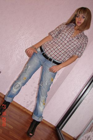 beige shirt - blue jeans - black Bershka shoes - black belt