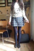 eggshell floral Migros sweater - black lace up oxfords Metro shoes - navy tights