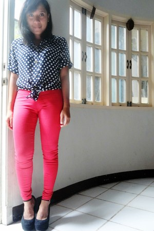 black Call it Spring shoes - red WAGW pants - blue random top