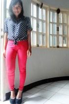 black Call it Spring shoes - red WAGW pants - blue random top