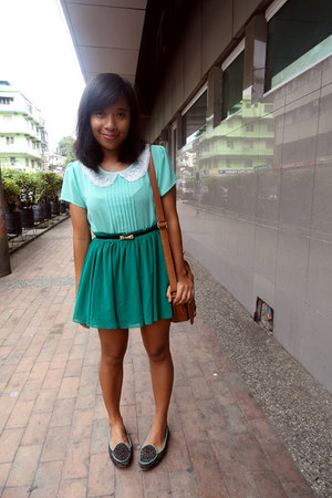 green Suelas flats - light brown Parisian bag - aquamarine sheer Forever 21 top