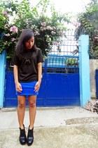 black glitter Esprit shirt - blue bondage Forever 21 skirt