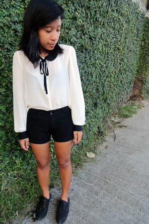 black oxfords Forever 21 shoes - white sheer Forever 21 top