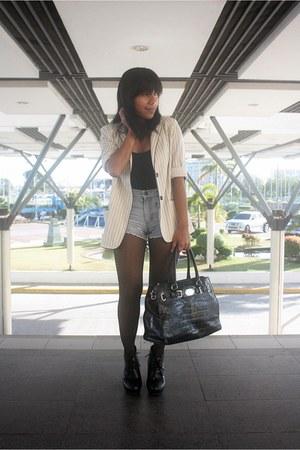 black polka dots Topshop tights - white striped thrifted vintage blazer