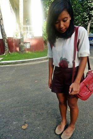 brick red Parisian bag - crimson faux leather Forever 21 shorts