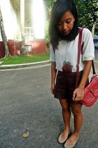 brick red Parisian bag - crimson faux leather Forever 21 shorts