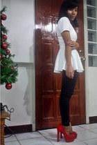 white peplum WAGW top - red bought online shoes - black riding WAGW pants