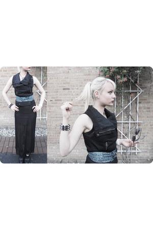 black mesh jean paul gaultier dress - BCBGMAXAZRIA belt - Zara vest
