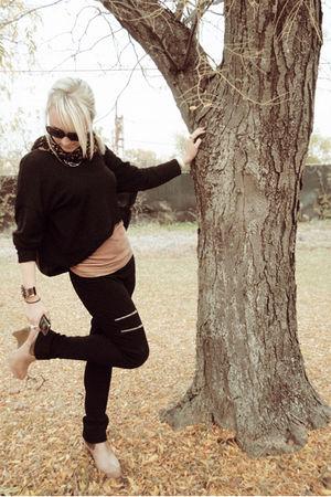 black Equestrian leggings - brown Victorias Secret top - black Manuelle Guibal s
