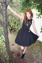 black Topshop boots - black Zara dress