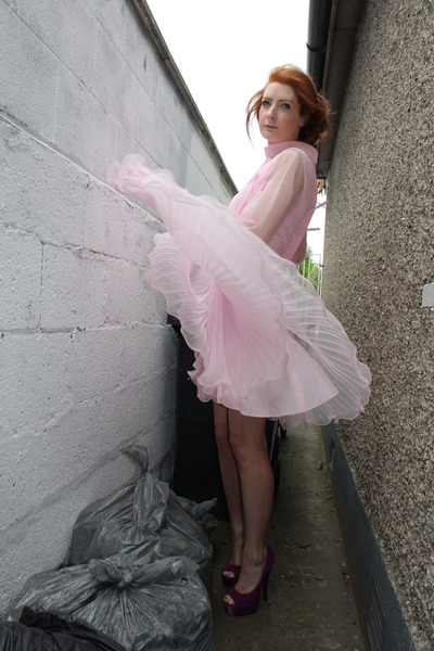 purple Carvella shoes - pink vintage dress