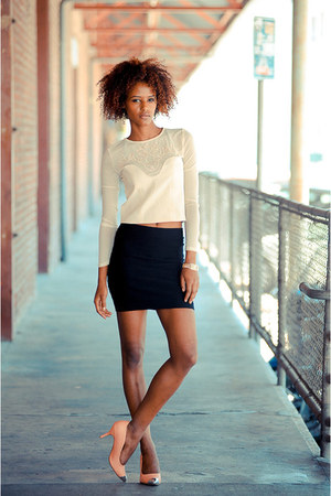 white cicihot top - black Zara skirt