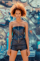 black vegan leather cicihot romper