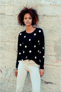 Black-polka-dots-cicihot-sweater-ivory-papaya-pants