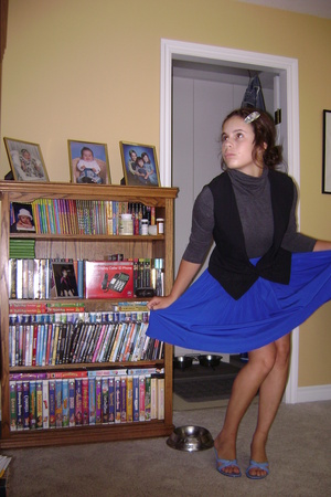 Walmart top - thrifted vest - vintage skirt - second hand shoes