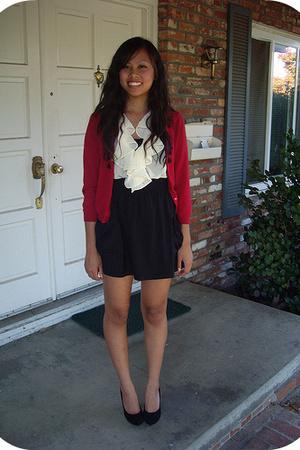 thrift - thrift blouse - Walmart skirt - thrift shoes
