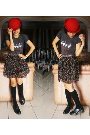 pleated skirt - Dr Martens shoes - bowler hat hat - Sox socks