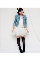 white Pinky dress - sky blue Aeropostale jacket - black olsenboye heels