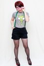 Heather-gray-mighty-fine-t-shirt-black-old-navy-shorts