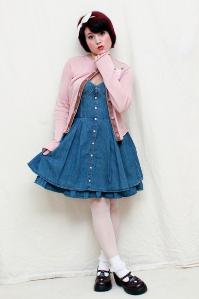 dark brown Mudd shoes - navy pink dress - bubble gum Daisytrip cardigan