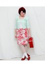 Red-bongo-heels-light-pink-anne-klein-skirt-lime-green-candies-cardigan