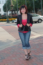 black Old Navy blazer - hot pink Forever 21 top