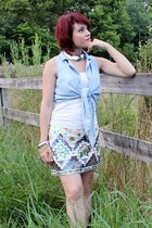 periwinkle vintage shirt - cream Express skirt