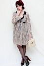 Tan-stefanel-dress-camel-vintage-bag-black-collin-stewart-heels