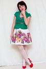 White-akira-dress-green-forever-21-blazer-hot-pink-pulse-heels