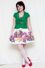 White-akira-dress-green-forever-21-blazer-hot-pink-pulse-heels