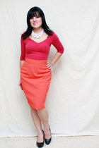 orange vintage skirt - hot pink poof shirt - black Charlotte Russe heels