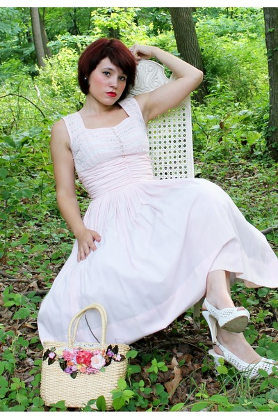 light pink vintage dress - white Charlotte Russe heels