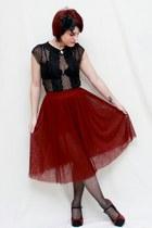 maroon Tulle skirt - black Lilly shirt - black Charlotte Russe heels