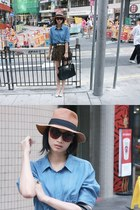 dark khaki hat Short & Sweet hat - light blue chambray Initial shirt