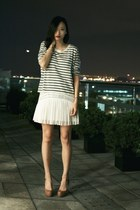ivory pleated rag & bone dress - blue striped rag & bone shirt