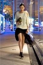 black sheer stolen girlfriends club skirt - ivory wool Nina Ricci sweater