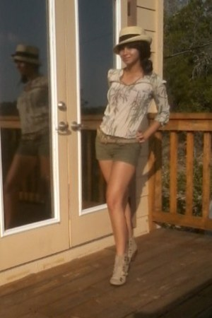 BCBG shirt - booties Qupid boots - Fedora hat - staccato shorts