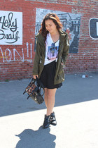 black romwe boots - black dress - olive green anorak unknown jacket