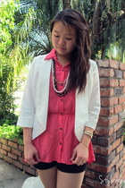 white S Line blazer - black silk unknown brand shorts - coral Have & Have top