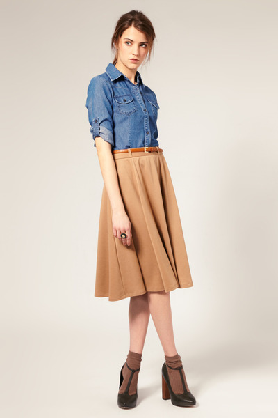 blue Zara shirt - tan Zara skirt