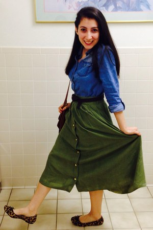 olive green gold buttons skirt - jean flannel unknown shirt - brown flats