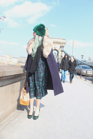 navy vintage coat - green fur chicwarm vintage hat - tan Prada bag